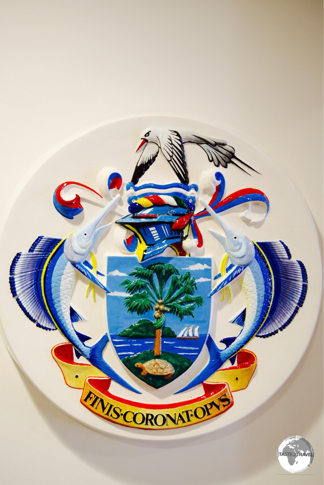 The Coat of arms of the Seychelles on display at the National Museum of History in Victoria.