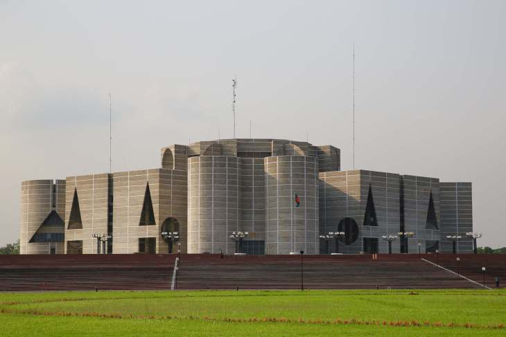 The National Parliament House in Dhaka.