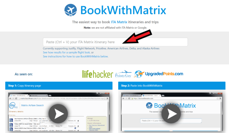 How to Book Cheap Flights: The 'Book With Matrix' website allows you to copy and paste an itinerary from the ITA Matrix which can then be converted and fed to a booking site.