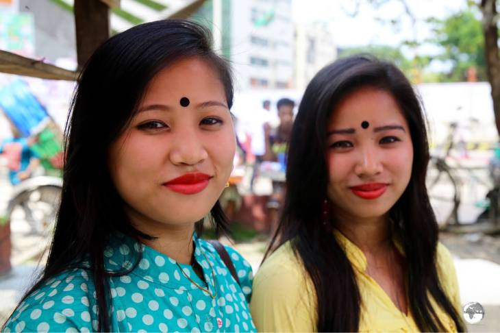 Two sisters visiting the National Museum in Dhaka.