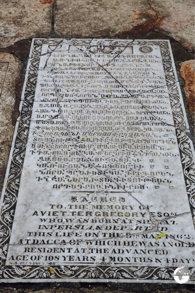 The cemetery on the grounds of the Armenian church include many historic gravestones, including one of a person who passed away at the very advanced age of 108+ years.