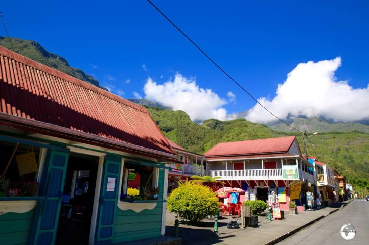 The main street of <i>Hell-bourg</i> is lined with traditional Creole houses.