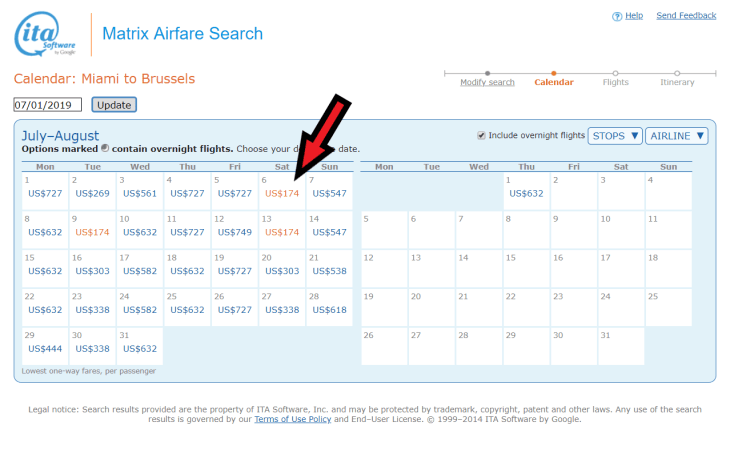 The search result from the Miami to Brussels query clearly highlights the cheapest fares in red.