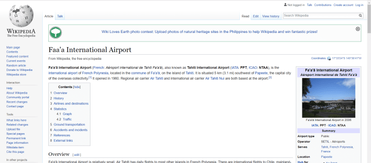 The Wikipedia page for Tahiti International Airport, officially known as Fa'a'ā International Airport.