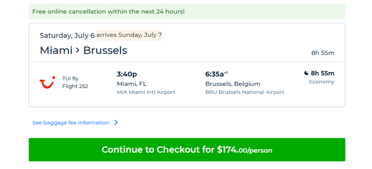 The screen from Priceline.com from where you can purchase the TUI Fly flight.