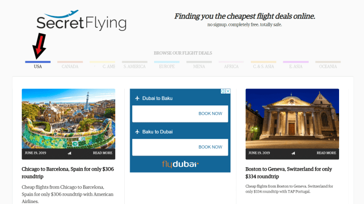 The Secret Flying website allows you to select deals according to geographical regions. such as 'USA'.