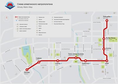 Almaty Metro route map.
