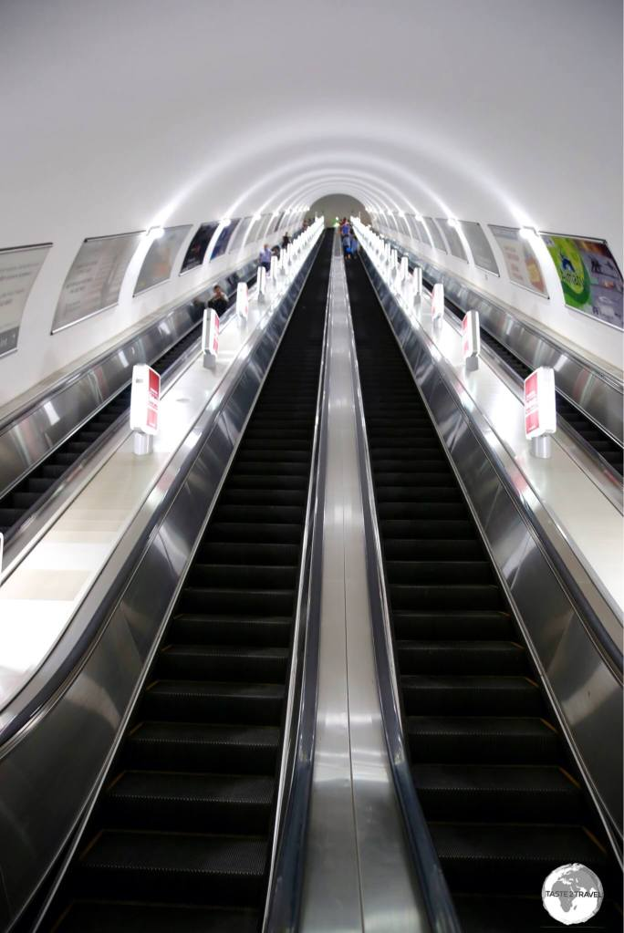 The incredibly long escalators on the Almaty metro.