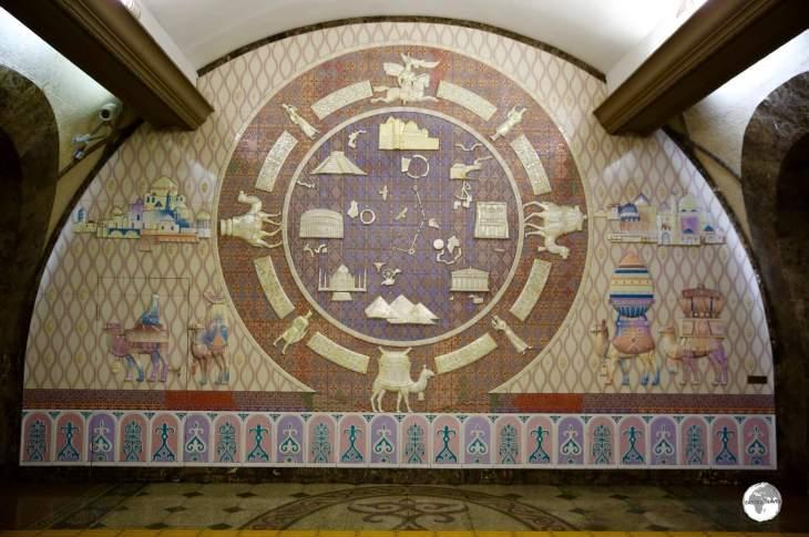 A ceramic, Silk Road, mural at Zhibek Zholy (Silk Road) Metro Station.
