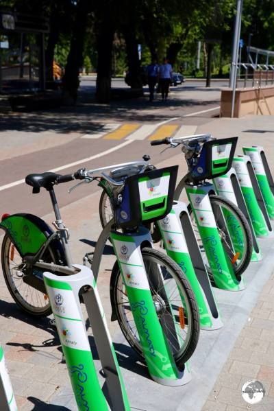 Shared bikes can be found at various locations in downtown Almaty.