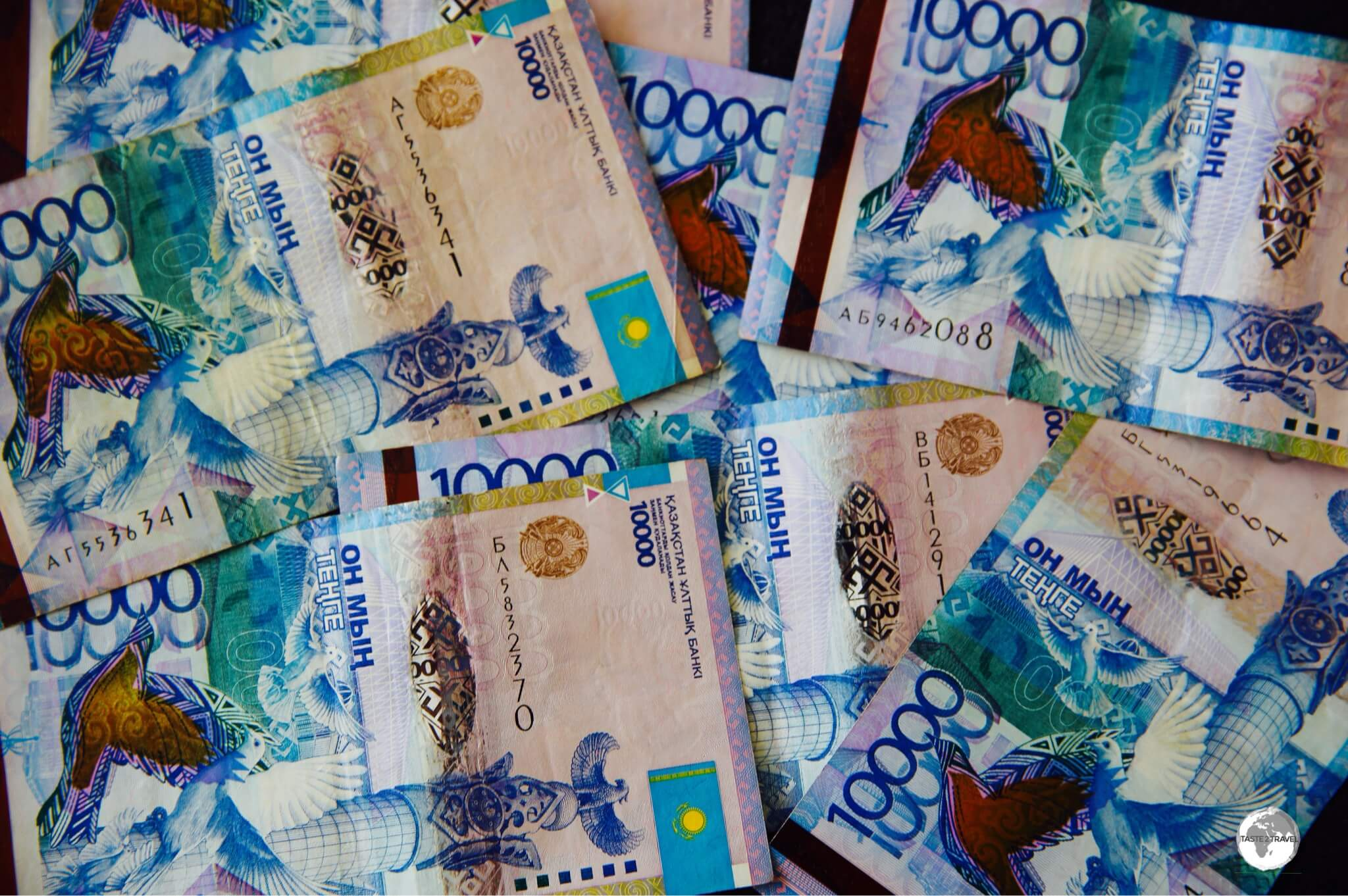 The 10,000 tenge banknote, issued in 2011 to commemorate the 20th anniversary of independence from the Soviet Union.