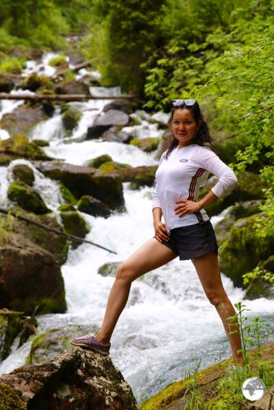 Another fellow tour passenger from Almaty, striking a pose in the spectacular Kolsai National Park.