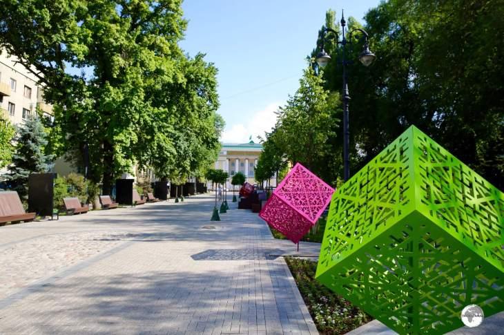 Colourful street art decorate Panfilov Street Promenade.