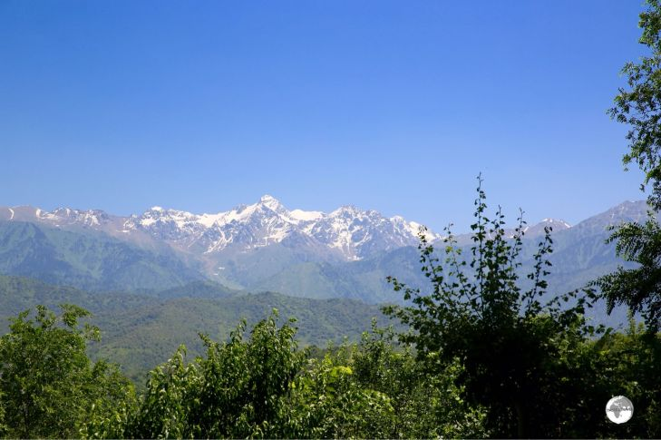A panoramic view of the Tian Shan mountains from Kok Tobe.