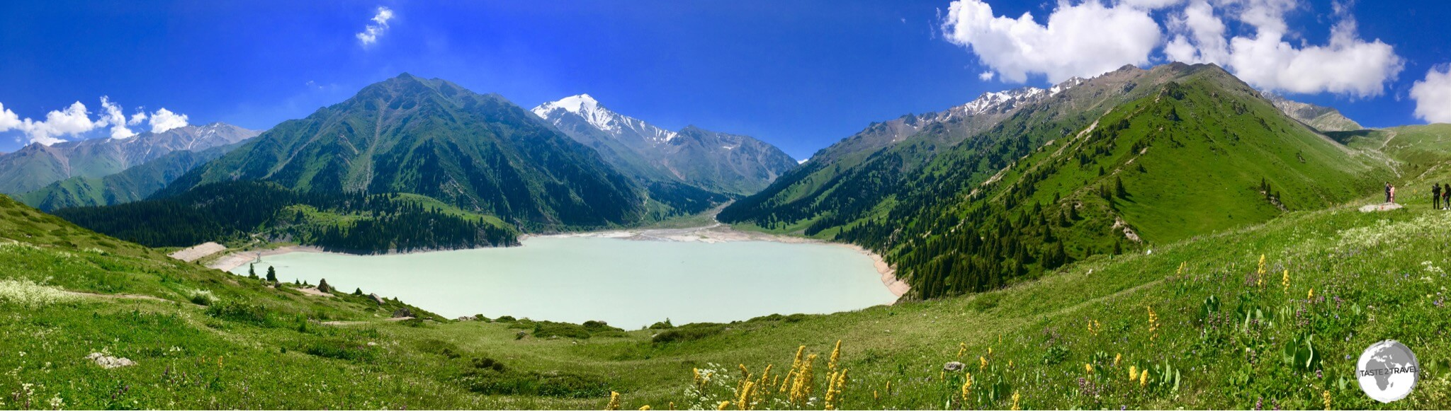 A panoramic view of Almaty Big Lake, which is a short drive from Almaty.