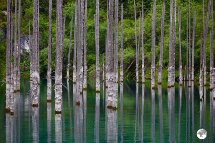 Lake Kaindy is a spectacular sight, famous for its sunken forest.