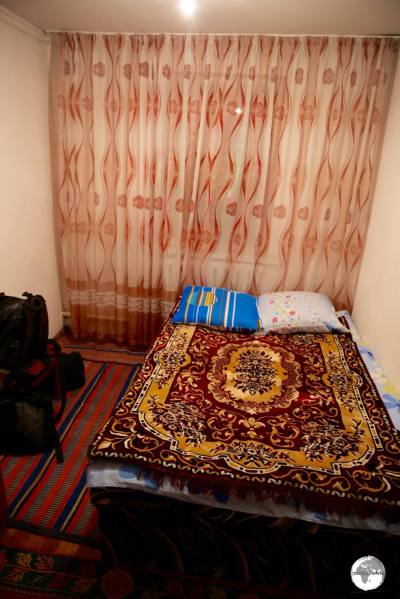 My cosy room in the family home stay in the village of Karabulak.