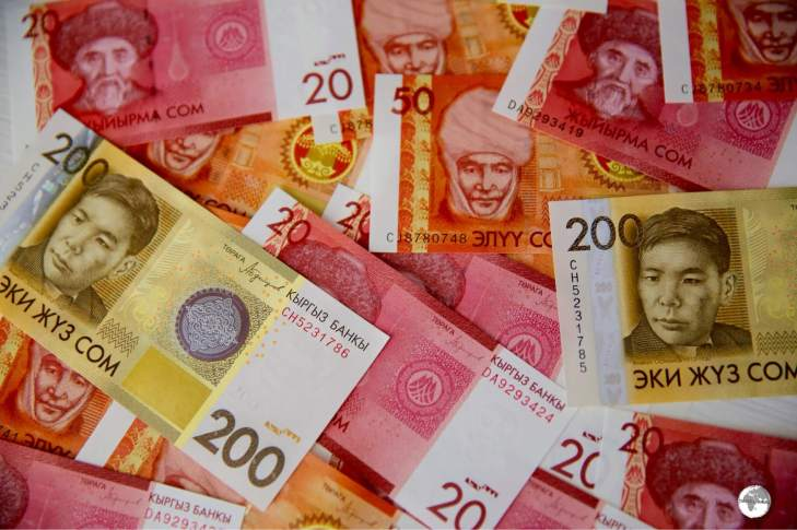 A selection of Kyrgyzstan Som bank notes.
