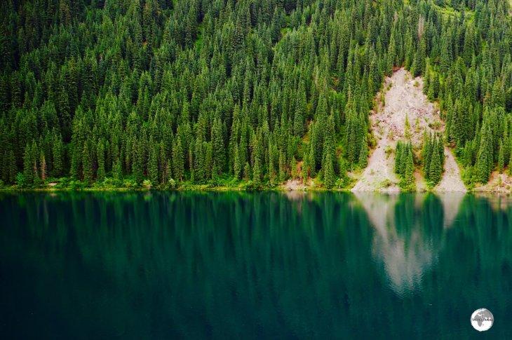 """""""Reflection"""" - Lake Kolsai National Park, which lies in Southern Kazakhstan near the border of Kyrgyzstan."""
