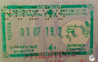 Kazakhstan passport stamp.