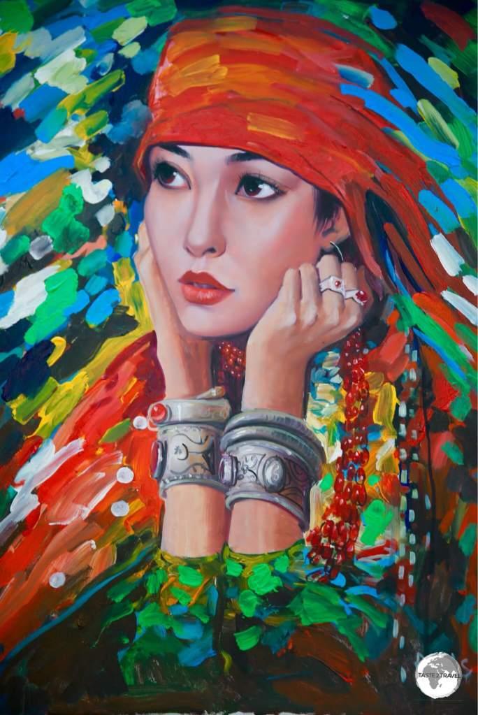 Kyrgyz folk artwork on sale at the Ala-Too square art market.