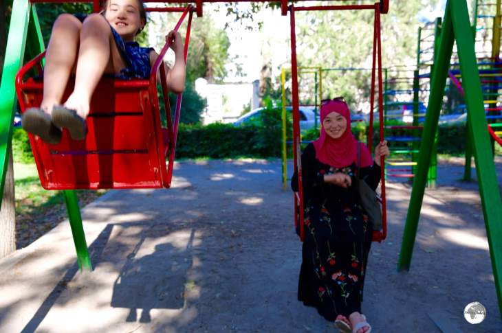 Relaxing in one of the many parks in Bishkek.