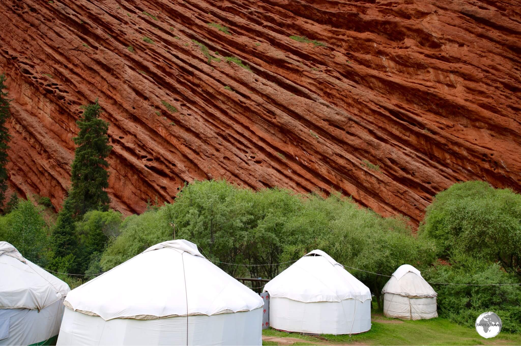 The ultimate wind barrier – a yurt camp, protected by the towering walls of the seven bulls.