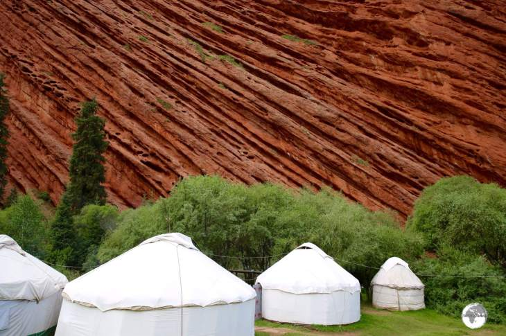 The ultimate wind barrier - a yurt camp, protected by the towering walls of the seven bulls.