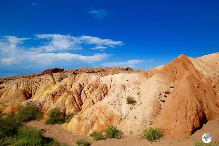 Looking like an artist's palette, minerals in the earth provide a splash of colour at Skazka Canyon.