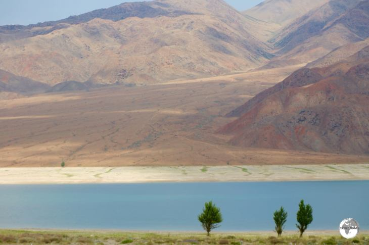 Located west of lake Issyk-Kul, the landscape surrounding Orto Tokoy reservoir is spectacular.