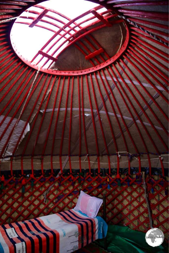 The Tunduk is seen here, in the interior of my yurt, on lake Son-Kul.
