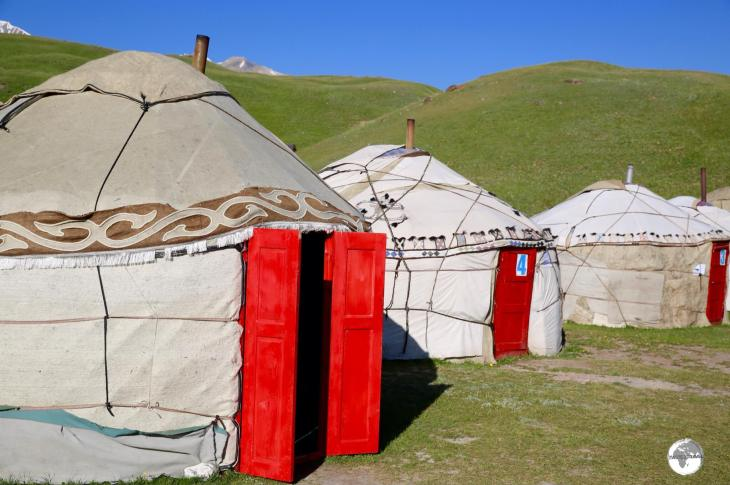 My yurt at the Lenin Peak yurt camp. I like to practice an 'open door' policy when staying in yurts.