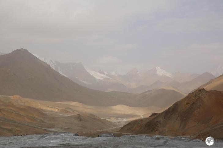 The view north from the lofty Akbaital Pass 4,655 metres (15,272 ft).