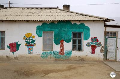 The residents of Murgab add a splash of colour to their homes by painting colourful flowers and trees onto the white adobe walls.