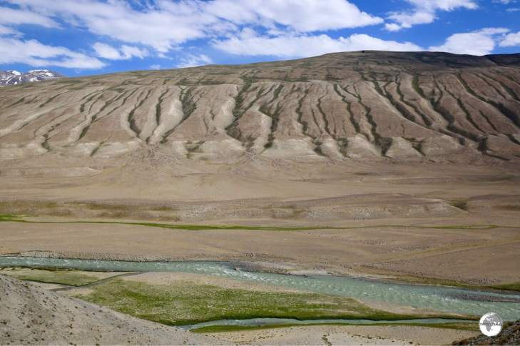 My first views of Afghanistan and the upper Wakhan valley, at which point the Panj river is just a stream.