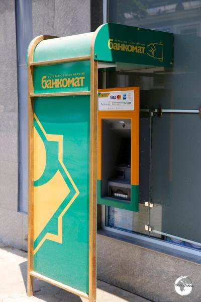 One of the few Kazkom ATM's, located opposite the TSUM department store, on Rudaki avenue, in Dushanbe.