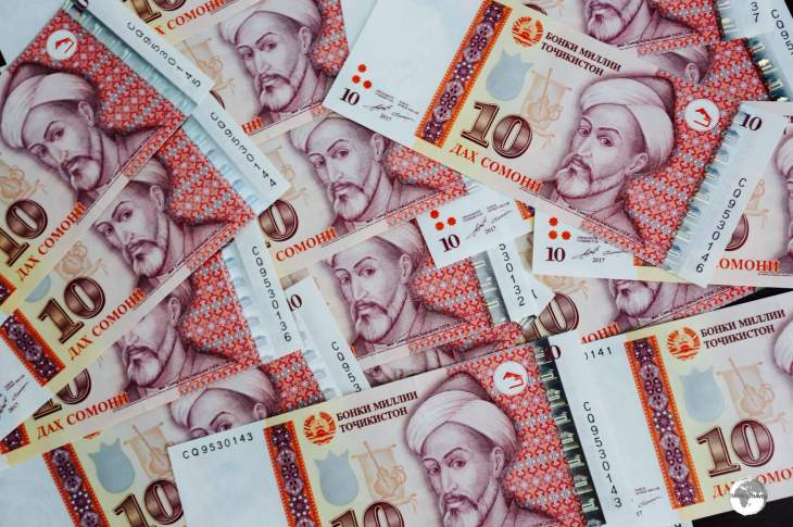 Brand new 10 somoni notes, which feature Mir Said Ali Hamadoni (1314-1384), a Tajik thinker and poet.