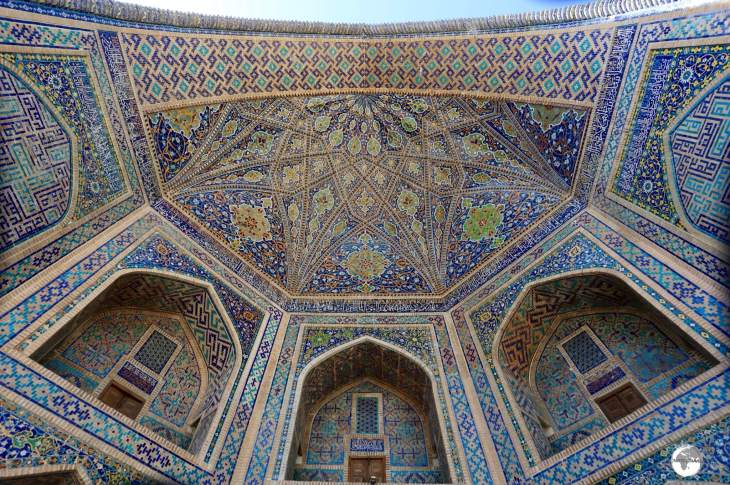 The striking entrance to the Ulugh Beg Madrasah at the Registan.