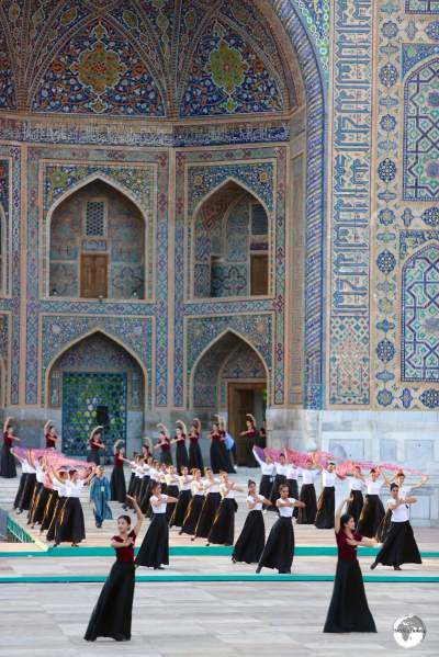 A sneak peak of a dress rehearsal for a concert which was to be performed at the Registan.