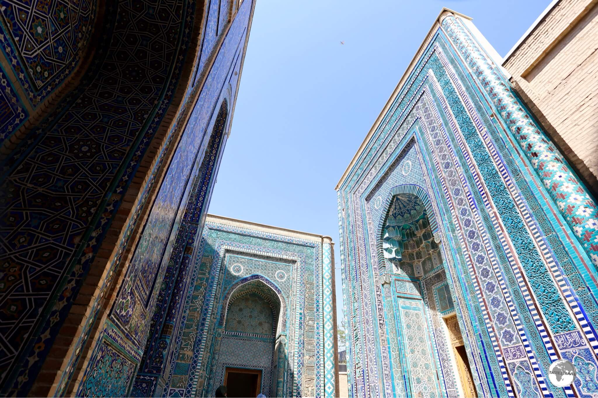 Shah-i-Zinda in Samarkand consists of an avenue of exquisitely tiled mausoleums.