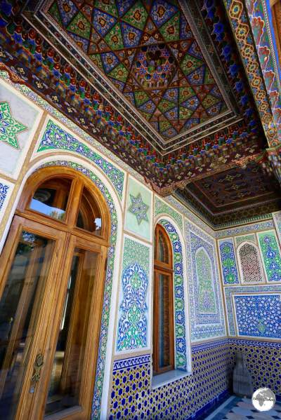 An exquisite example of 'Ghanch', an architectural-decorative form of artwork, at the Museum of Applied Art in Tashkent.