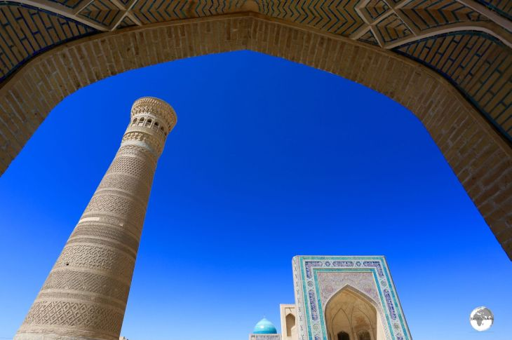 The Kalyan minaret and mosque lie at the heart of Bukhara old town.