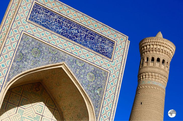 The main entrance and minaret at the Kalyan mosque in Bukhara.