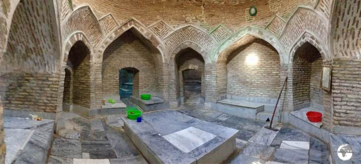 The main chamber at the ancient Bozori Kord bathhouse in Bukhara old town, where one can pay to be massaged (pounded!) and scrubbed on a hard marble slab.