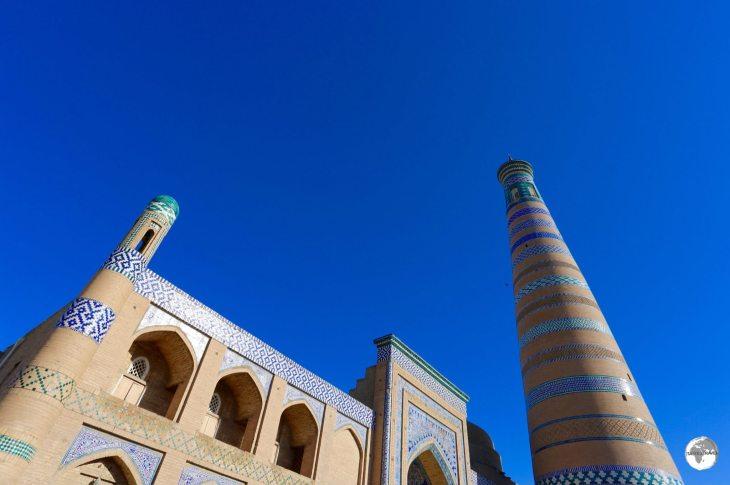 Attached to its namesake Madrasah, the Islam Khoja Minaret in Khiva is the tallest minaret in Uzbekistan.