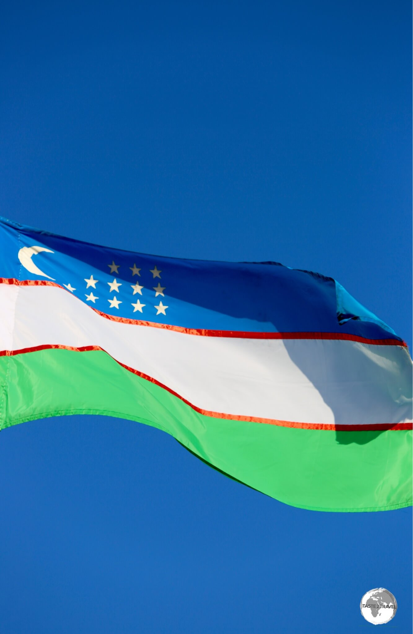 The flag of Uzbekistan flying in Khiva.