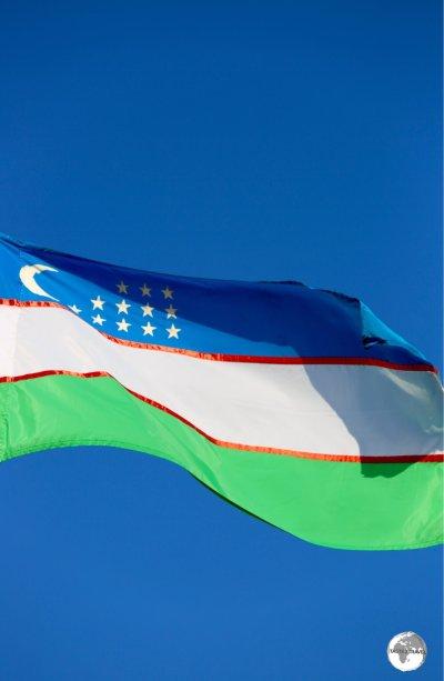 The flag of Uzbekistan flying in Khiva.