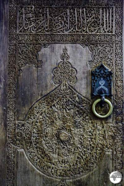 A wooden door at the Tosh Hawli palace in Khiva.