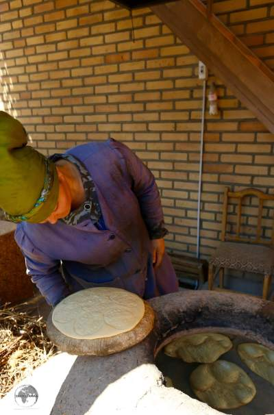 Bread in Khiva being baked in a clay oven.