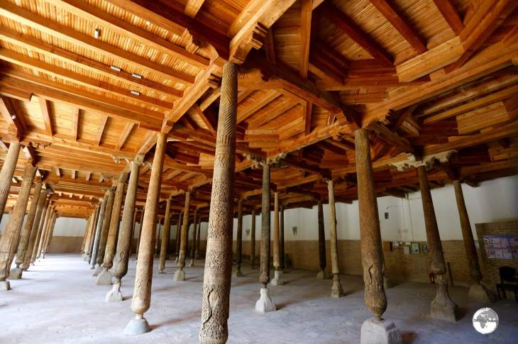 Just some of the 218 wooden columns which support the wooden roof of the Juma Mosque in Khiva.